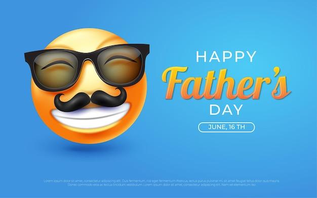 Vaderdag 3d emoji-achtergrond met blauwe illustraties in blauw