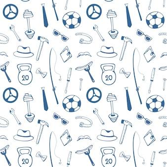 Vaderdag. accessoires voor heren. instrumenten. sportuitrusting naadloos patroon.