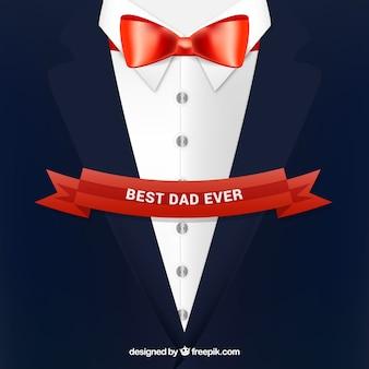 Vaderdag achtergrond met pak in vlakke stijl