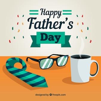 Vaderdag achtergrond met stropdas en koffiekopje in vlakke stijl