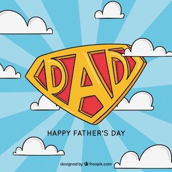 Vaderdag achtergrond met super papa insignia