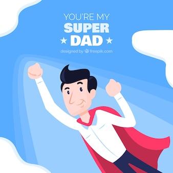 Vaderdag achtergrond met super vader