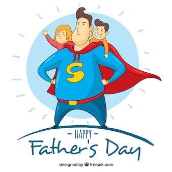 Vaderdag achtergrond met superdad