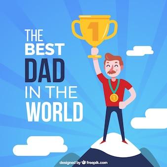 Vaderdag achtergrond met vader en trofee