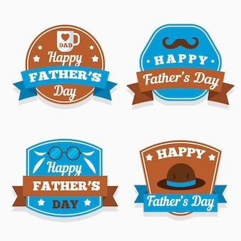 Vaderdag badges in vlakke stijl