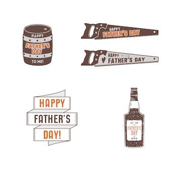 Vaderdag badges, labels-collectie. vakantie stickers voor t-shirts en andere identiteit. retro kleurontwerp. vintage vaderdag insignes.