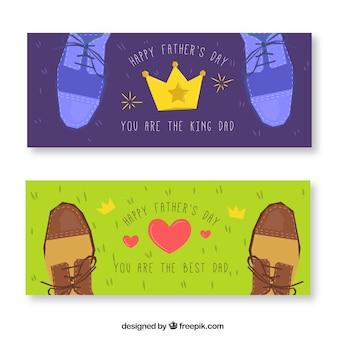 Vaderdag banners collectie met verschillende schoenen