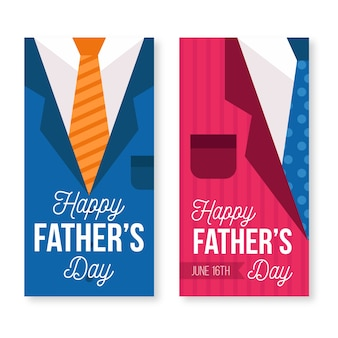 Vaderdag banners in vlakke stijl