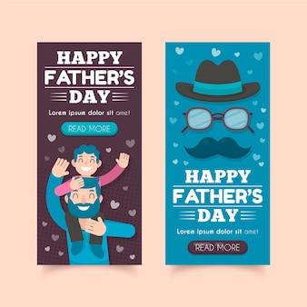 Vaderdag banners vlakke stijl