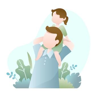 Vaderdag illustratie met papa draagt zijn dochter op schouder