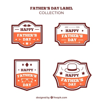 Vaderdag labels-collectie in vlakke stijl