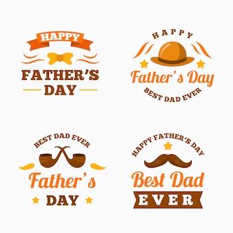 Vaderdag labels in vlakke stijl