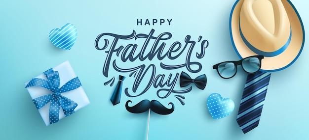 Vaderdag met hoed stropdas en geschenkdoos op blauwe achtergrond. groeten en cadeautjes voor vaderdag