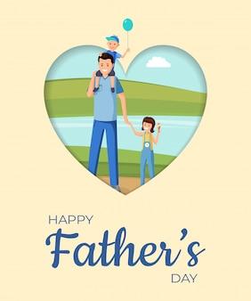 Vaderdag vakantie platte banner vector lay-out. gelukkig ouderschap, feestelijke wenskaart cartoon concept. familie viert vaderdag samen, ouder en kinderen op wandeling illustratie met typografie