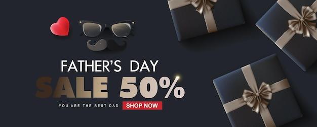 Vaderdag verkoop bannerontwerp met luxe geschenk