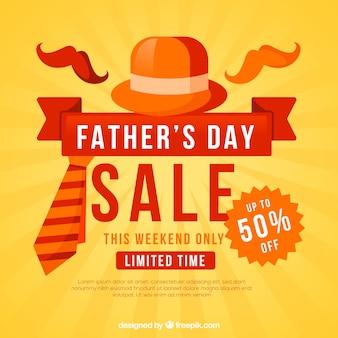 Vaderdag verkoopsjabloon met hoed en stropdas