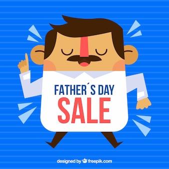 Vaderdag verkoopsjabloon met karikatuur van de mens