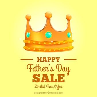 Vaderdag verkoopsjabloon met realistische kroon