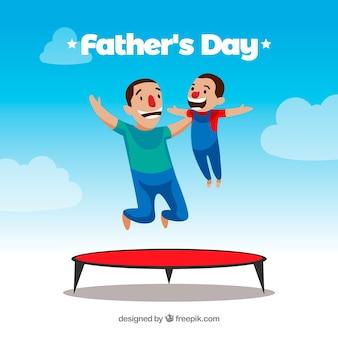 Vaderdagachtergrond met familie het springen