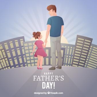 Vaderdagachtergrond met familie in de stad
