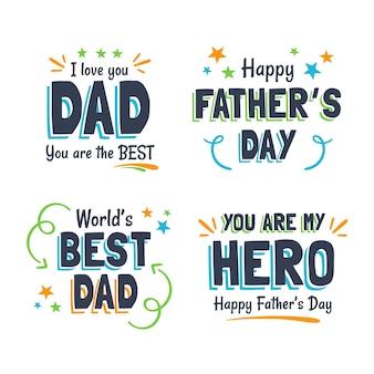 Vaderdagbadges in plat ontwerp