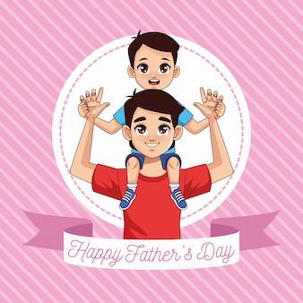 Vaderdagkaart met vader dragende zoon met lintkader