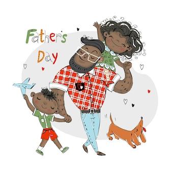 Vaderdagkaart voor de vakantie. een vader met een dochter met een zoon en een hond met een rode teckel. donkere huidskleur. vector