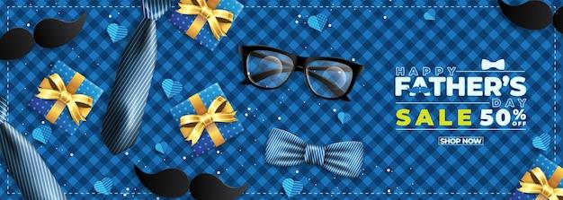 Vaderdagverkoopbanner met flatlay van brillenstropdas en geschenken