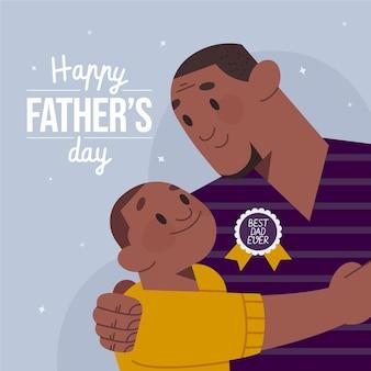 Vaderdagviering in vlakke stijl
