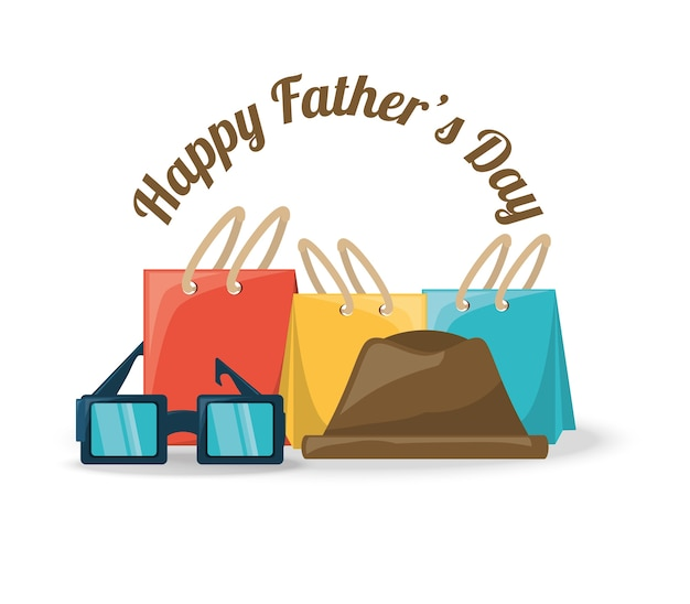 Vaders dag decoratie met geschenken, hoed en bril