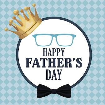 Vaders dag kaart, gouden kroon decoratie badge retro stijl