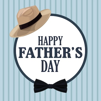 Vaders dag kaart, hoed strikje decoratie badge retro-stijl