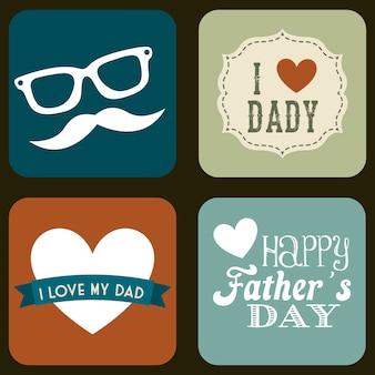 Vaders dag kaart retro stijl vectorillustratie
