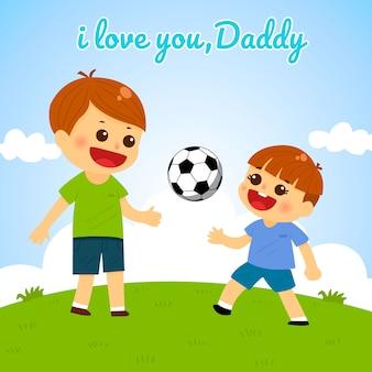 Vaders dag vader en zoon voetballen