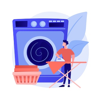 Vaders en huishoudelijk werk abstract concept vectorillustratie. vader doet huishoudelijk werk, klusjes thuis, vader zoon dochter kleren opvouwen, leuk koken, samen schoonmaken, afwassen abstracte metafoor.