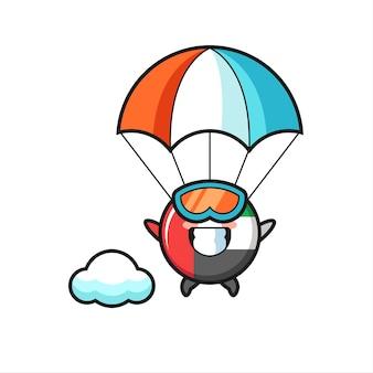 Vae vlag badge mascotte cartoon is parachutespringen met gelukkig gebaar, schattig stijlontwerp voor t-shirt, sticker, logo-element