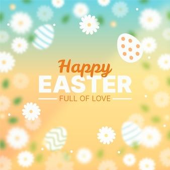 Vage gelukkige pasen-dag met bloemen en eieren