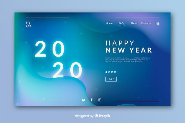 Vage nieuwe jaarlandingspagina met vloeibaar effect
