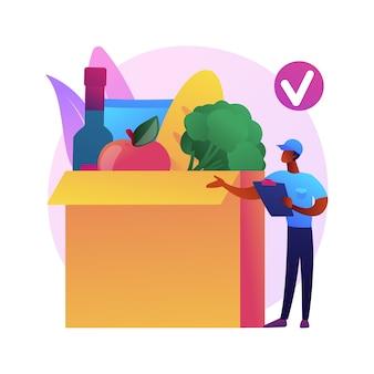 Vak abonnement service abstract concept illustratie. abonnementsplan, e-commercebedrijf, boodschappenservice, opstarten van dozen, internetmarketing, marktplaats