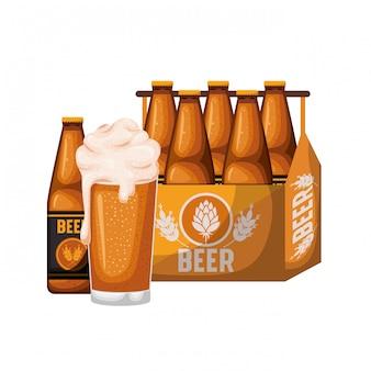 Vak met bierflessen en glas geïsoleerd pictogram