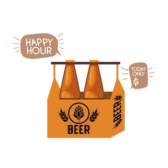 Vak met bierflessen geïsoleerde pictogram