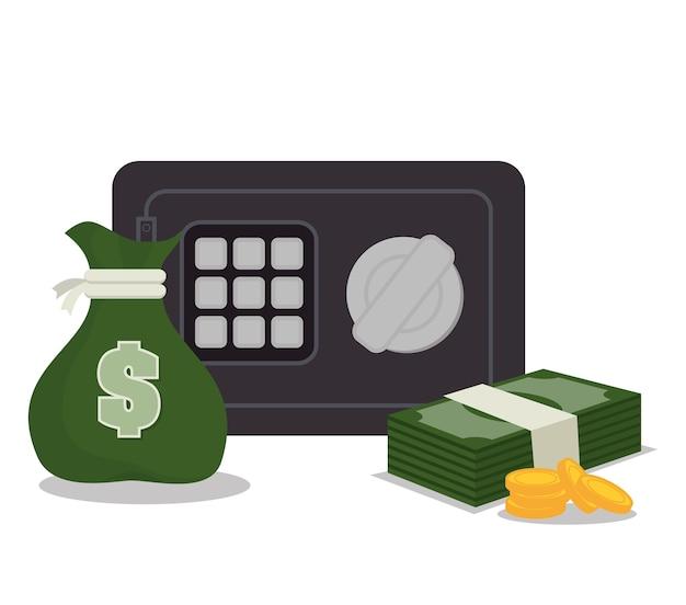 Vak veiligheid geld facturen pictogram afbeelding geïsoleerd