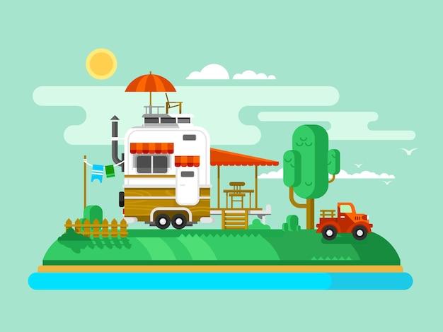Vakantie aanhangwagen. reis en toerisme, buitenontwerp plat, kampeeravontuur en vrije tijd, vlakke afbeelding