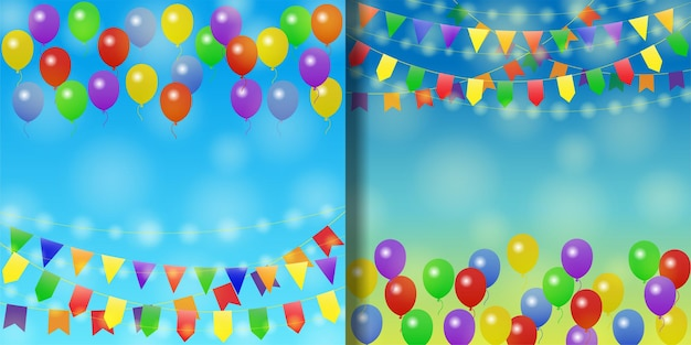 Vakantie achtergronden set met ballonnen en slingers