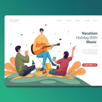 Vakantie beste vrienden drie mensen met iemand die met zijn gitaar zingt