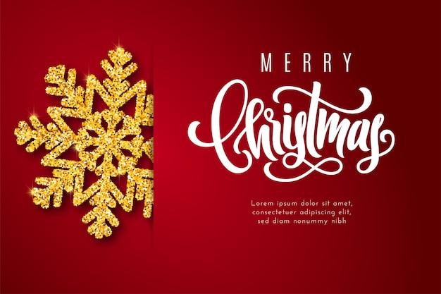 Vakantie cadeaubon met hand belettering merry christmas en gouden sneeuwvlok.