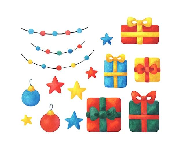 Vakantie clipart met geschenken, garland, kerstbal, sterren. veelkleurige decoratieve elementen