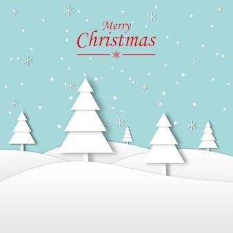 Vakantie concept. fijne vakantie. gelukkig nieuwjaar op winterlandschap met sneeuwvlokken en dennenbos achtergrond en merry christmas papier art. wenskaart