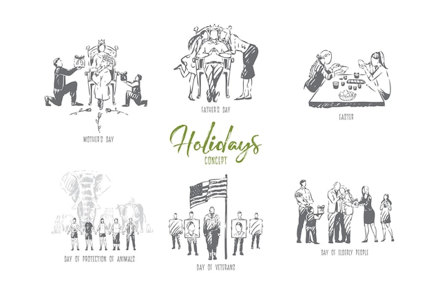 Vakantie concept schets illustratie