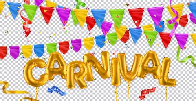 Vakantie decoratie. carnaval, gouden speelgoedballonnen, vlaggen, linten, confetti.
